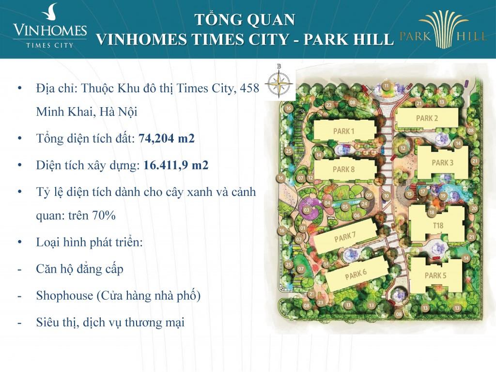 vị trí tòa Times City Park 1 trong tổng quan Park Hill